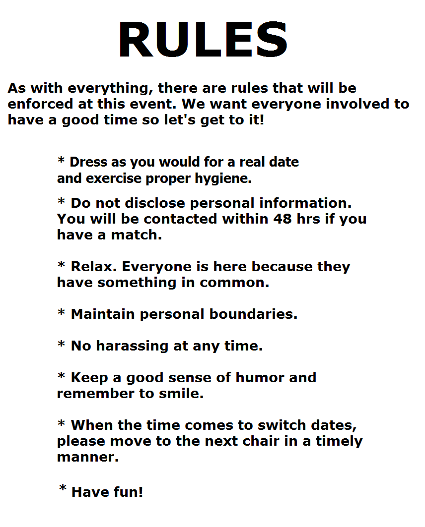 Speed dating rules