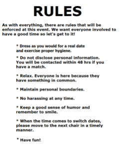 rules of a speed dating event