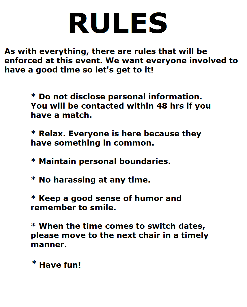 Speed dating instructions