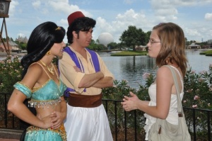 Tina and the Aladdin and Jasmine cast members whose encounter inspired her.