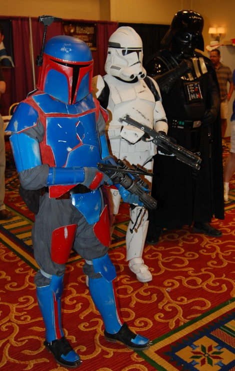 Members of the Vhe'rang Clan chapter of the Mandalorian Mercs Costume Club.